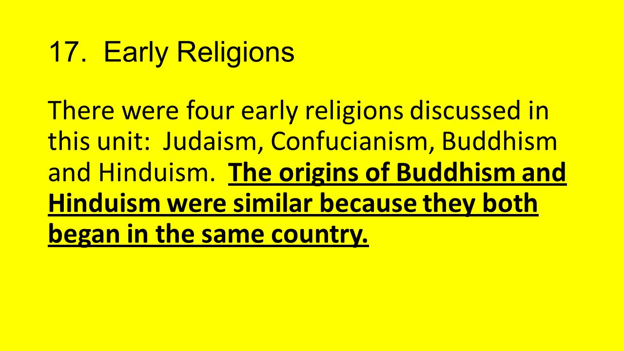 17. Early Religions