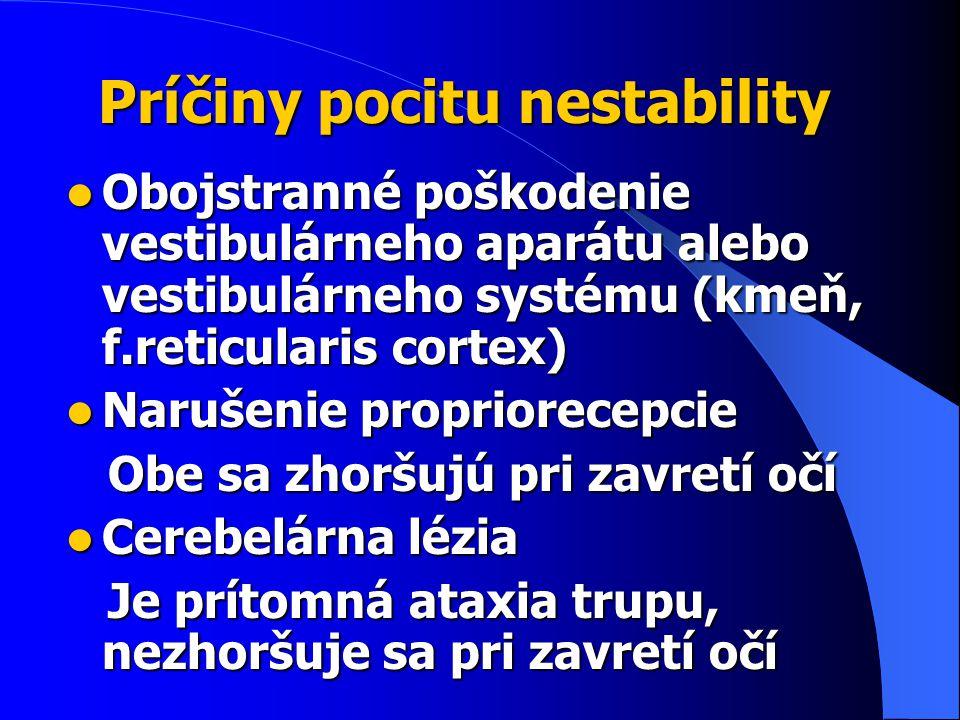 Príčiny pocitu nestability