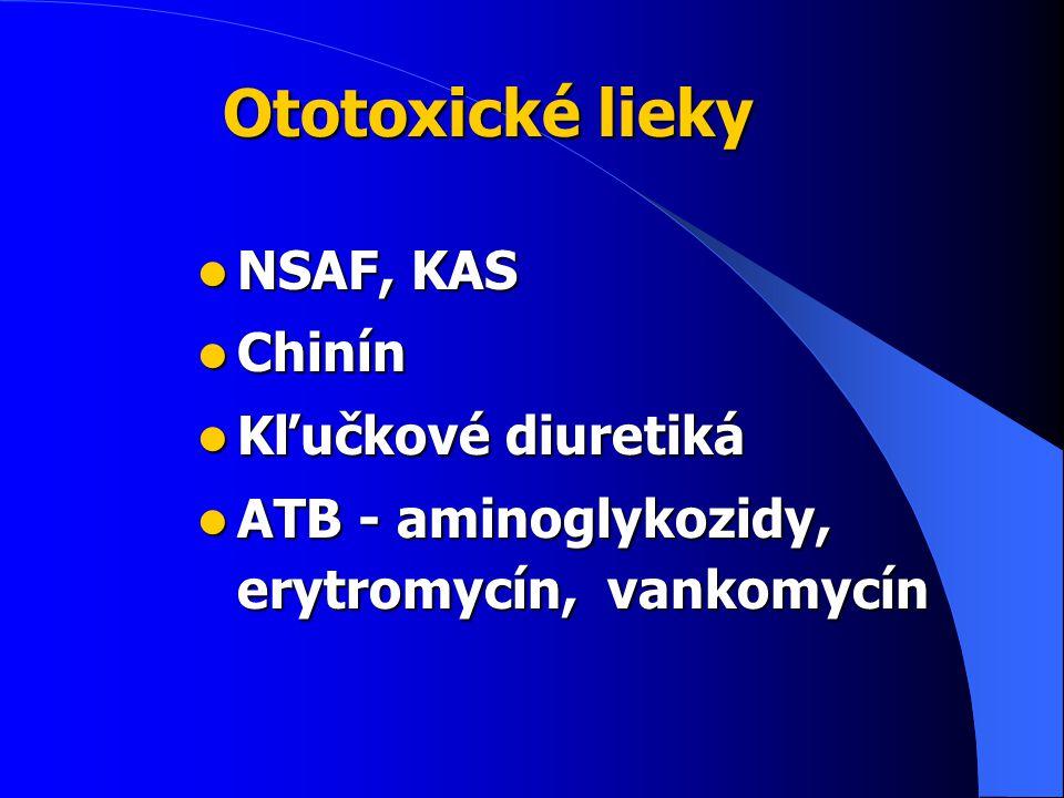 Ototoxické lieky NSAF, KAS Chinín Kľučkové diuretiká