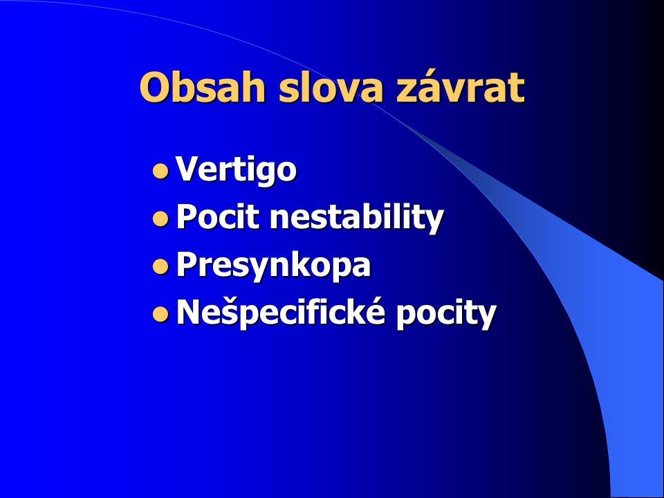 Obsah slova závrat Vertigo Pocit nestability Presynkopa