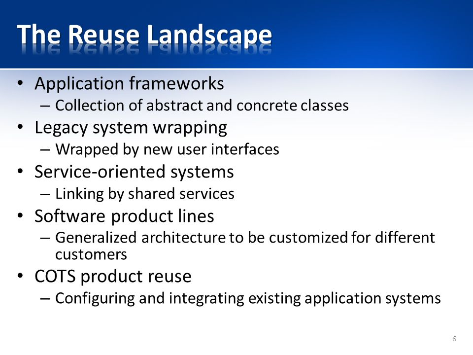 The Reuse Landscape Application frameworks Legacy system wrapping