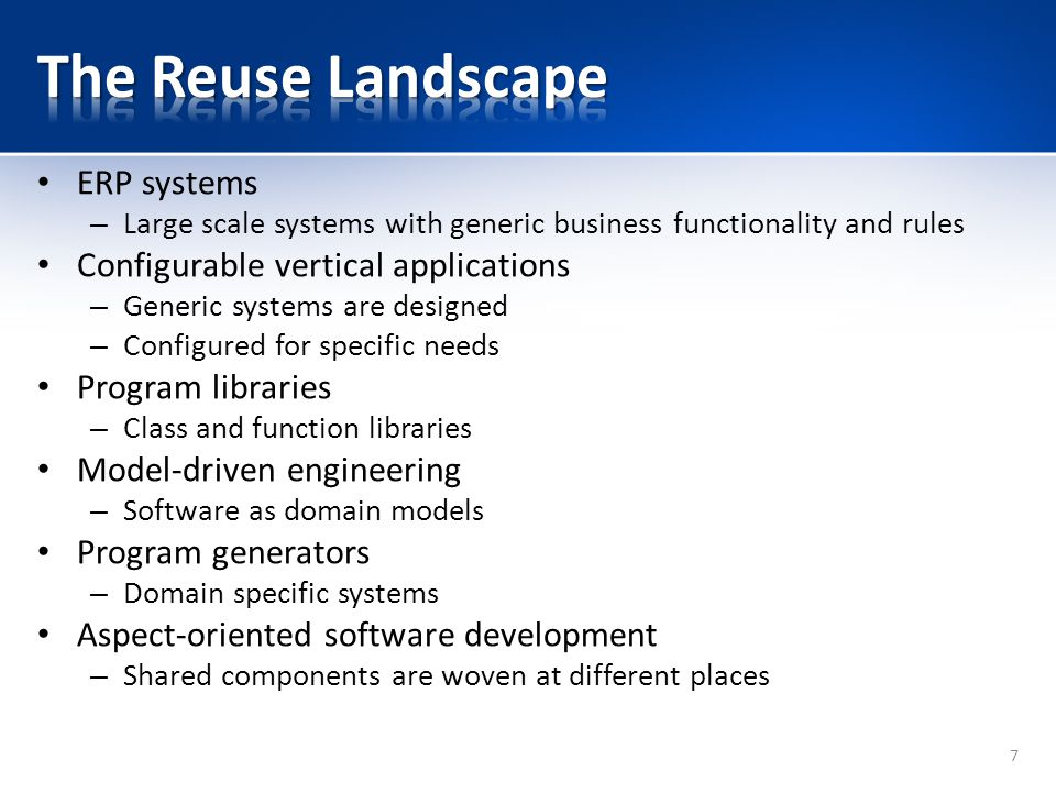 The Reuse Landscape ERP systems Configurable vertical applications