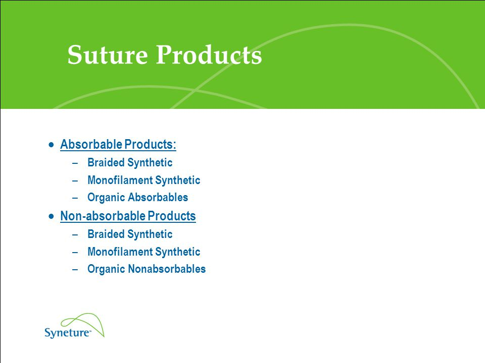Suture Products Absorbable Products: Non-absorbable Products