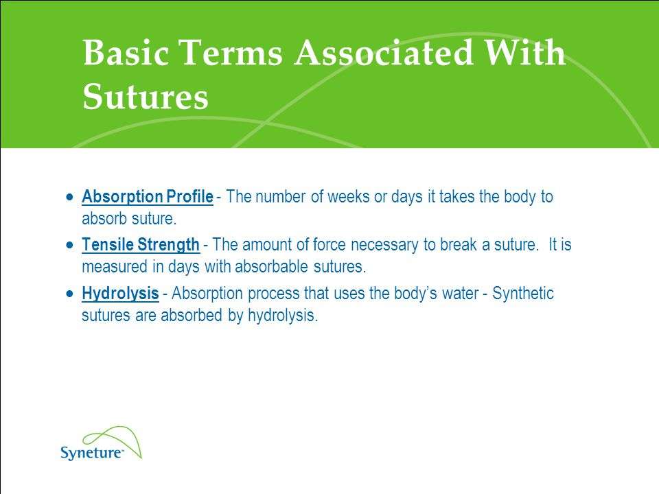 Basic Terms Associated With Sutures