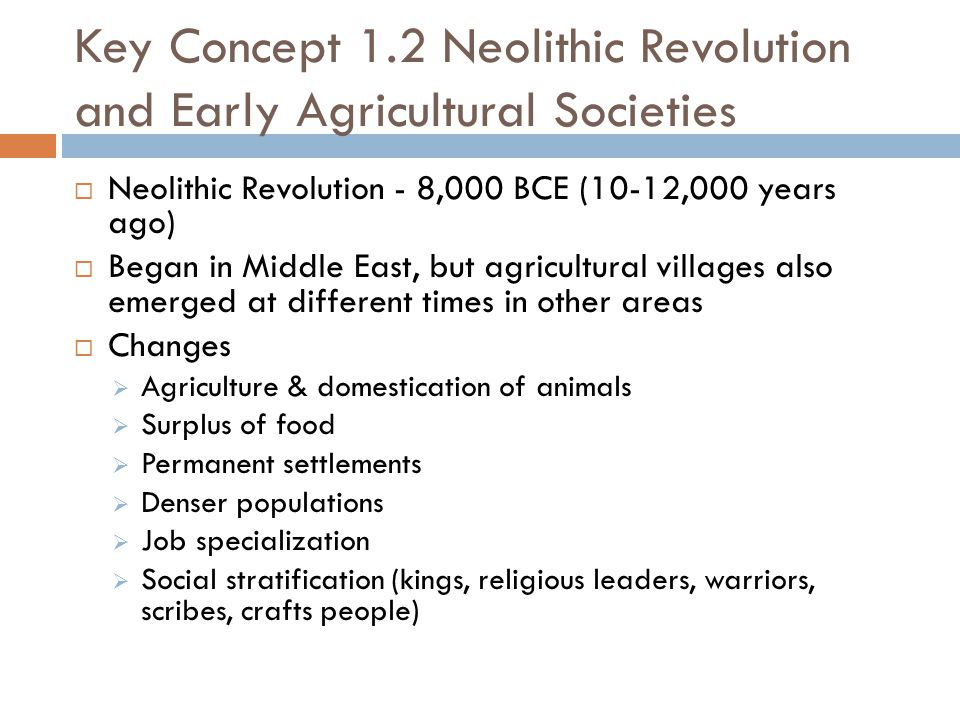 Key Concept 1.2 Neolithic Revolution and Early Agricultural Societies