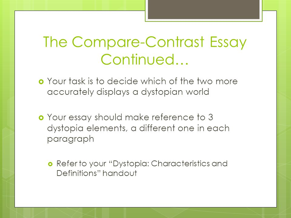 define the compare and contrast essay There are many different kinds of essays you will have to write as a student one of these is a compare and contrast essay this lesson will.