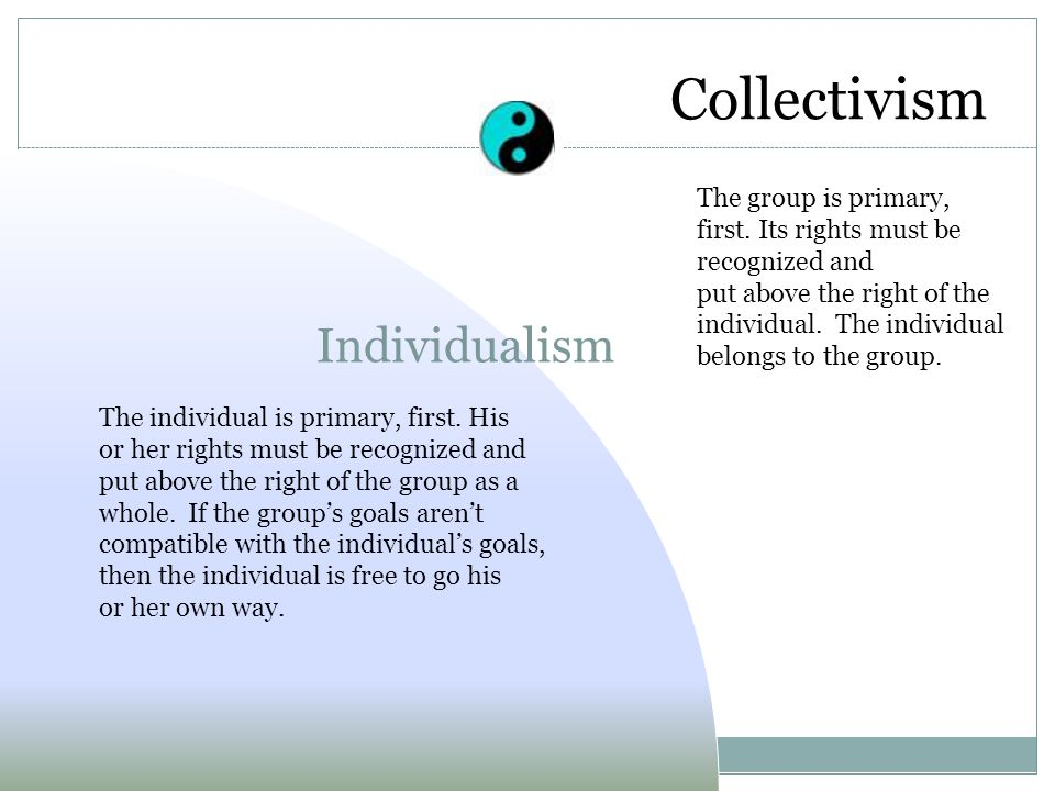 Collectivism Individualism