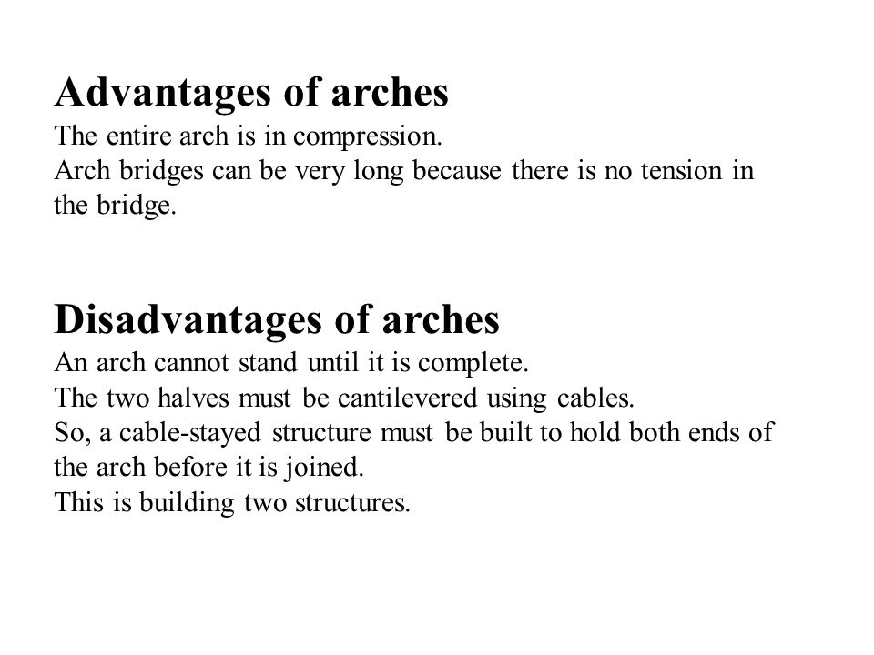 Disadvantages of arches