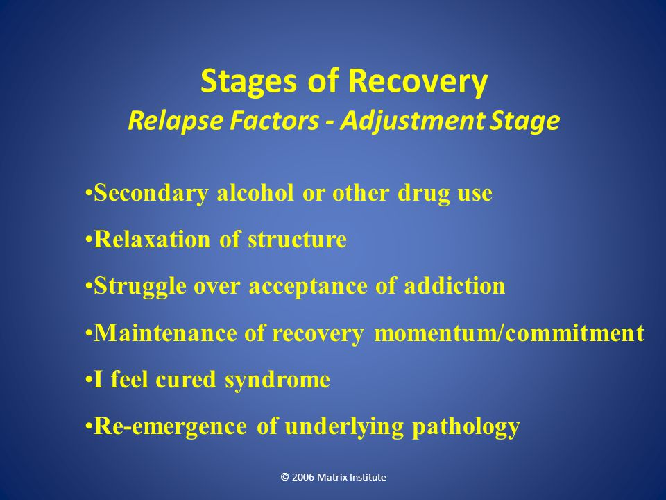 Stages of Recovery Relapse Factors - Adjustment Stage