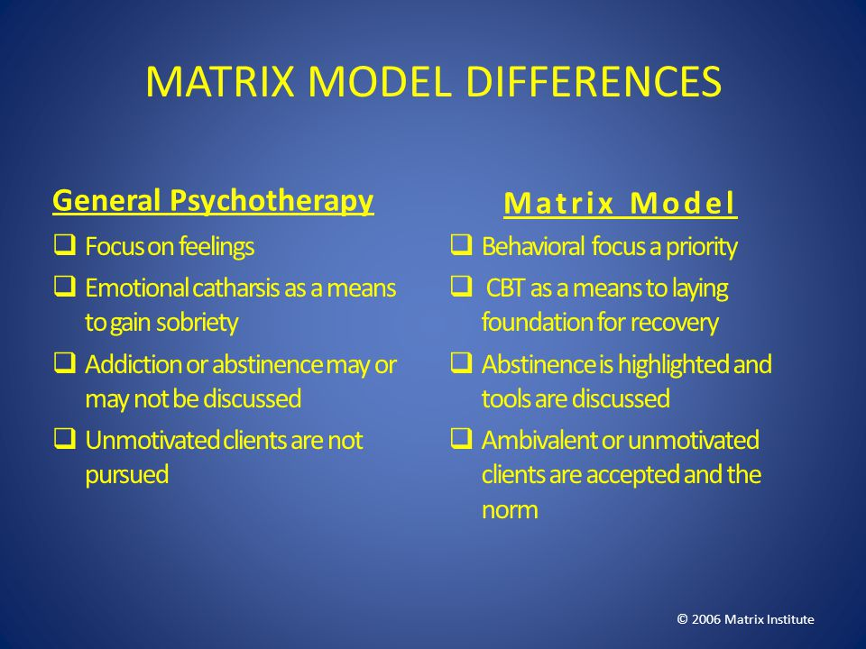MATRIX MODEL DIFFERENCES