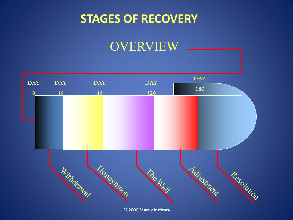 STAGES OF RECOVERY OVERVIEW Honeymoon The Wall Adjustment Withdrawal