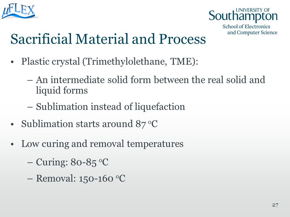 Sacrificial Material and Process