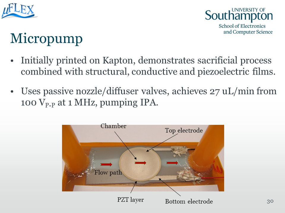 Micropump Initially printed on Kapton, demonstrates sacrificial process combined with structural, conductive and piezoelectric films.