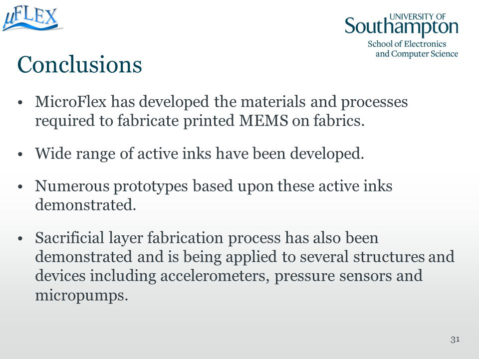 Conclusions MicroFlex has developed the materials and processes required to fabricate printed MEMS on fabrics.