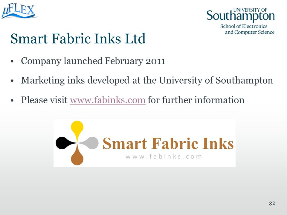 Smart Fabric Inks Ltd Company launched February 2011