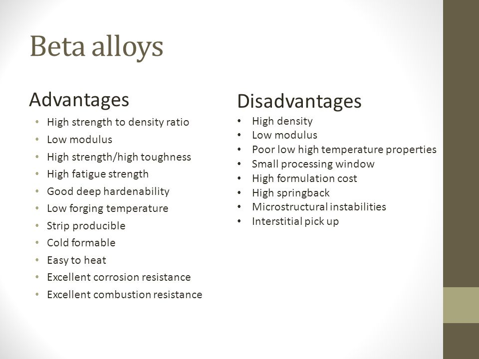 Beta alloys Advantages Disadvantages High strength to density ratio