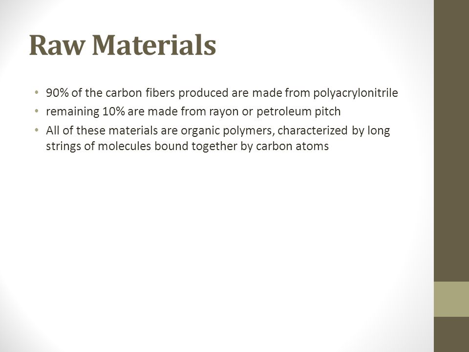 Raw Materials 90% of the carbon fibers produced are made from polyacrylonitrile. remaining 10% are made from rayon or petroleum pitch.
