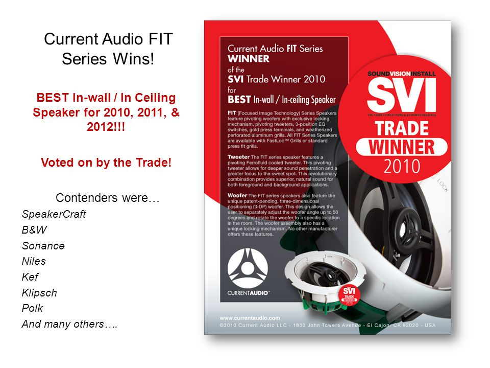 Current Audio FIT Series Wins!