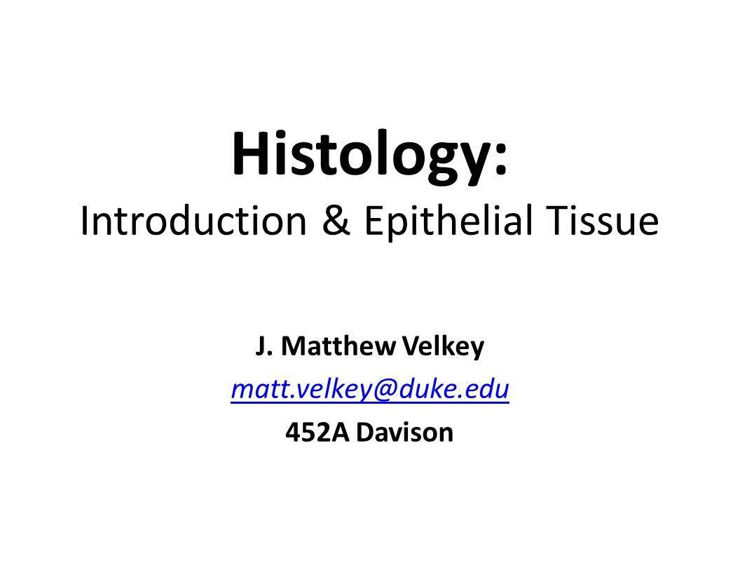 Histology: Introduction & Epithelial Tissue