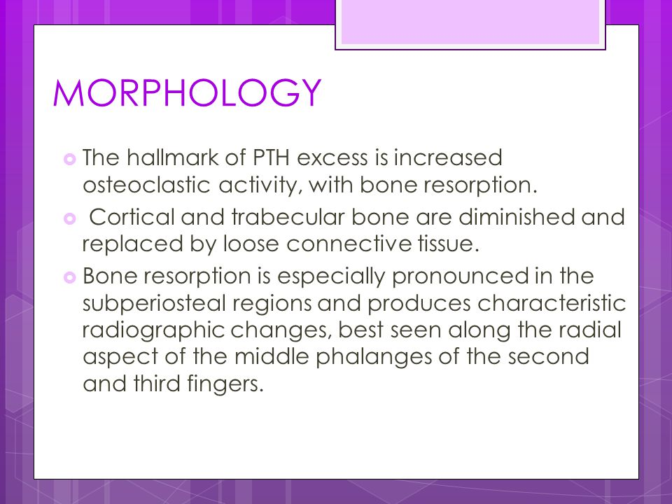 MORPHOLOGY The hallmark of PTH excess is increased osteoclastic activity, with bone resorption.