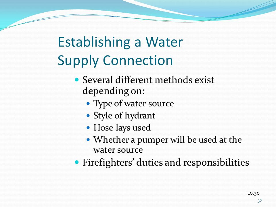 Establishing a Water Supply Connection