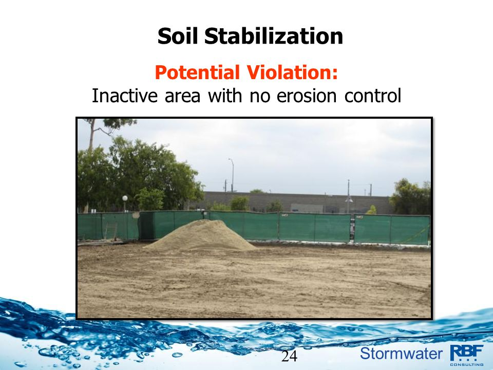 Inactive area with no erosion control