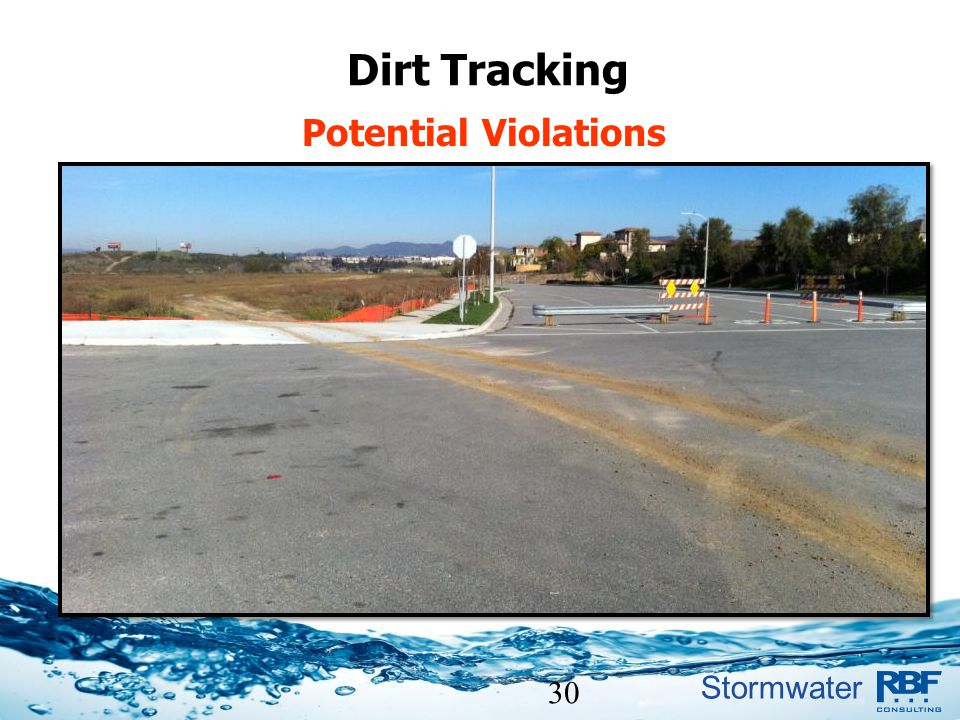 Dirt tracked onto streets,