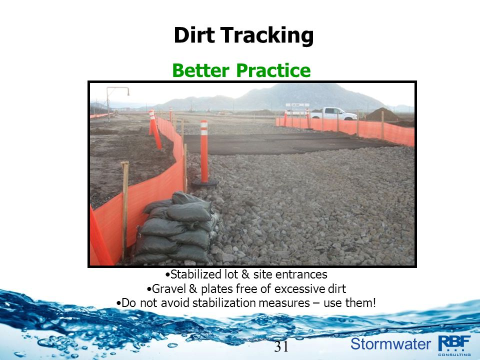 Dirt Tracking Better Practice 31 Stabilized lot & site entrances