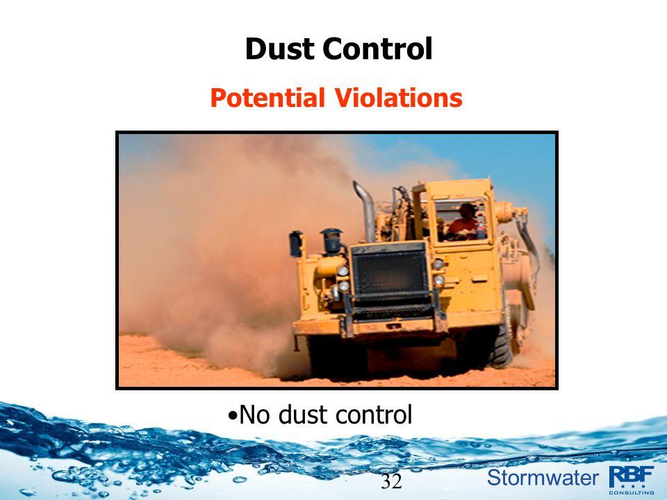 Dust Control Potential Violations No dust control 32