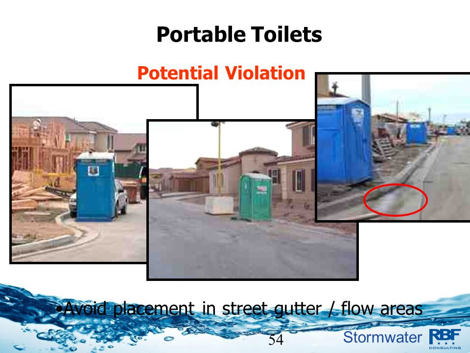 Avoid placement in street gutter / flow areas
