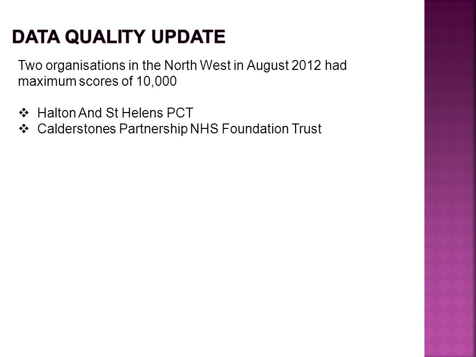 Data Quality update Two organisations in the North West in August 2012 had maximum scores of 10,000.