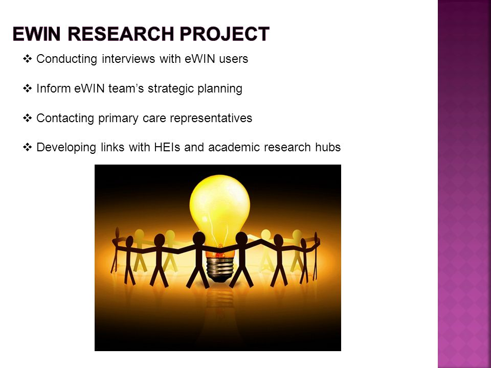 EWIN research project Conducting interviews with eWIN users