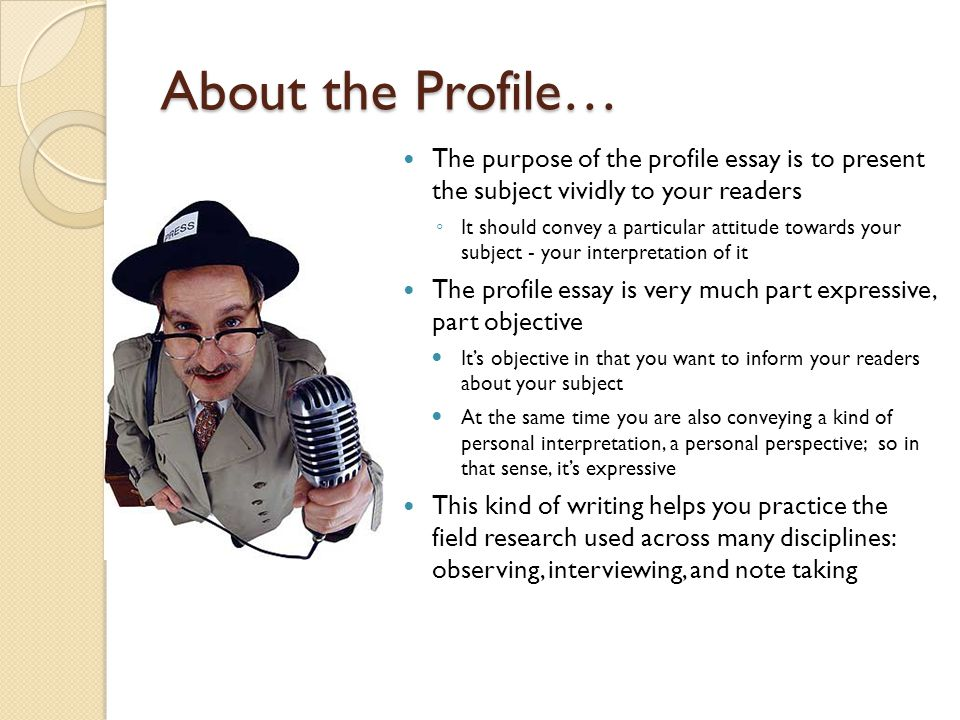 Writing a profile article on a person