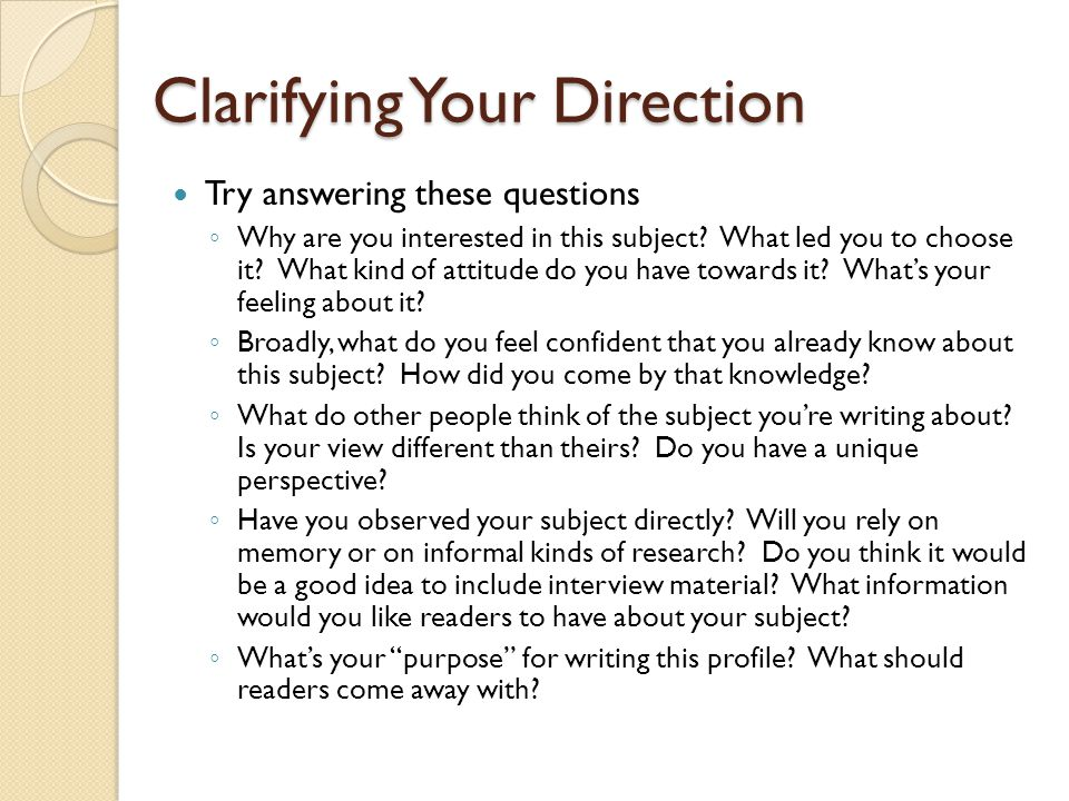 Clarifying Your Direction