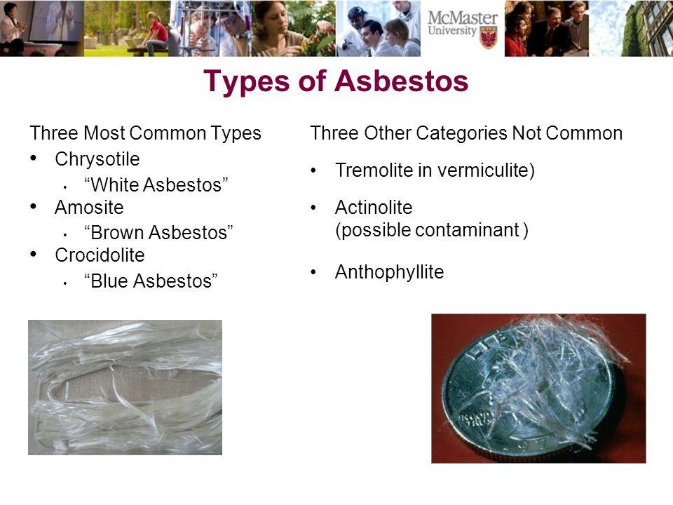 Types of Asbestos Three Most Common Types Chrysotile White Asbestos