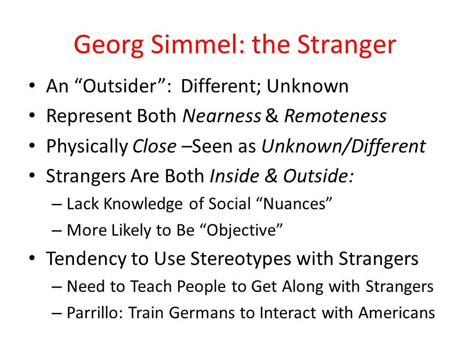 Georg Simmel: the Stranger