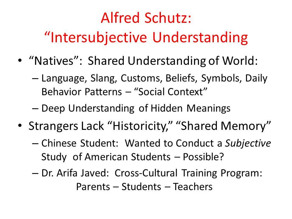 Alfred Schutz: Intersubjective Understanding