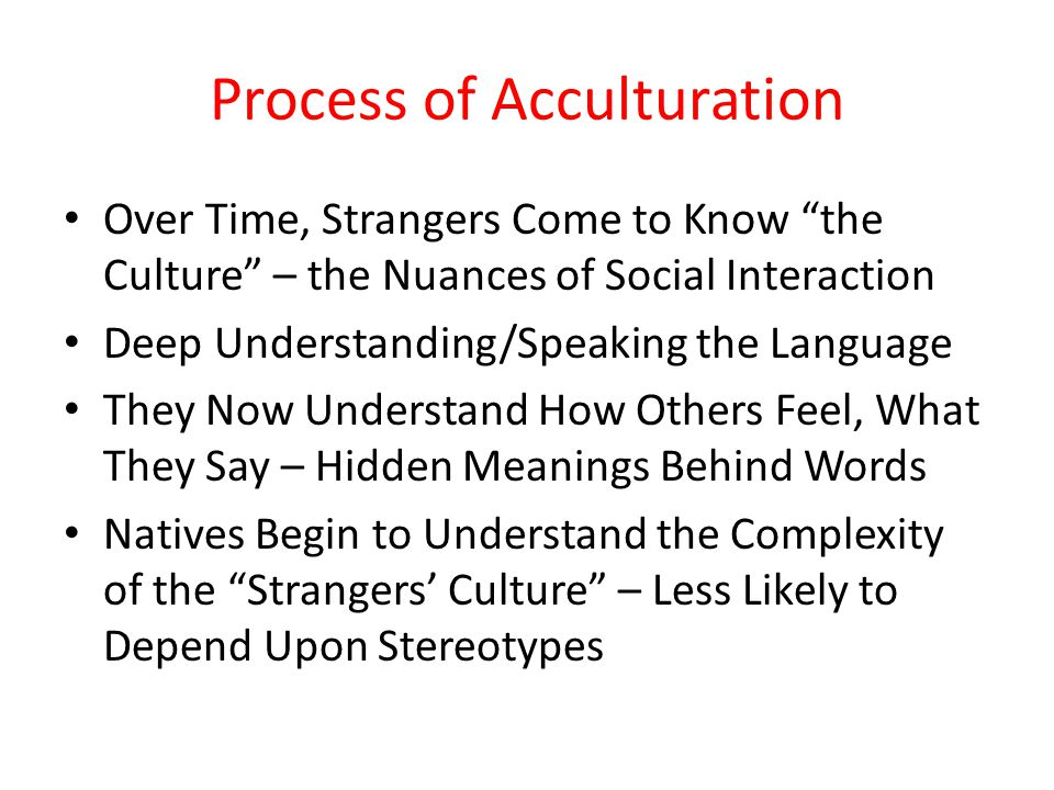 Process of Acculturation