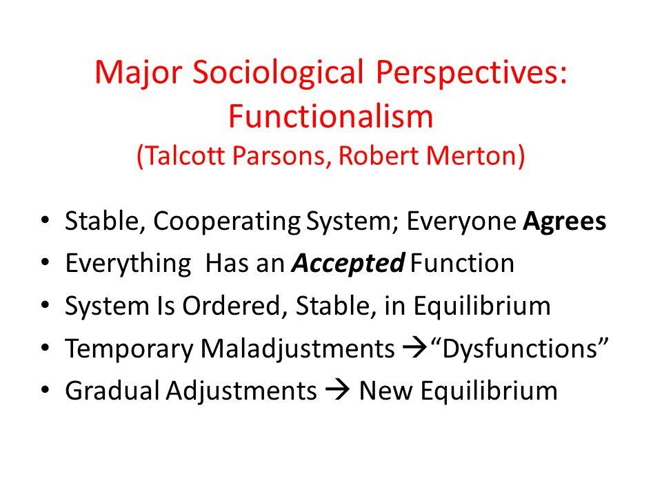 Major Sociological Perspectives: Functionalism (Talcott Parsons, Robert Merton)