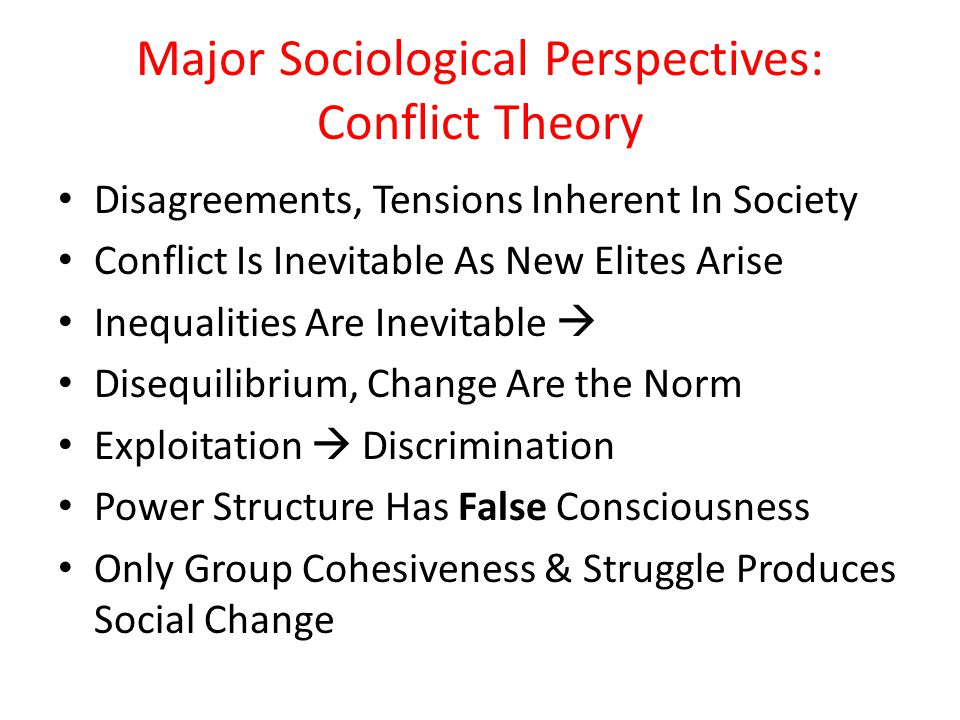 Major Sociological Perspectives: Conflict Theory