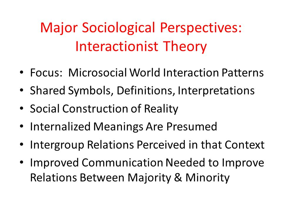 Major Sociological Perspectives: Interactionist Theory