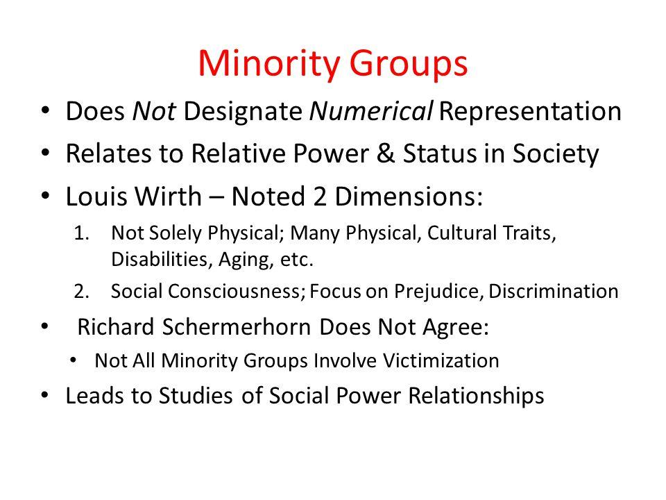 Minority Groups Does Not Designate Numerical Representation