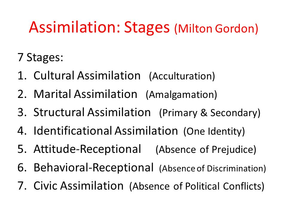 cultural assimilation and current society From the infamous melting pot to segmented assimilation to an identity-based model assimilation models, old and new: explaining a long-term process in 1964, gordon postulated.