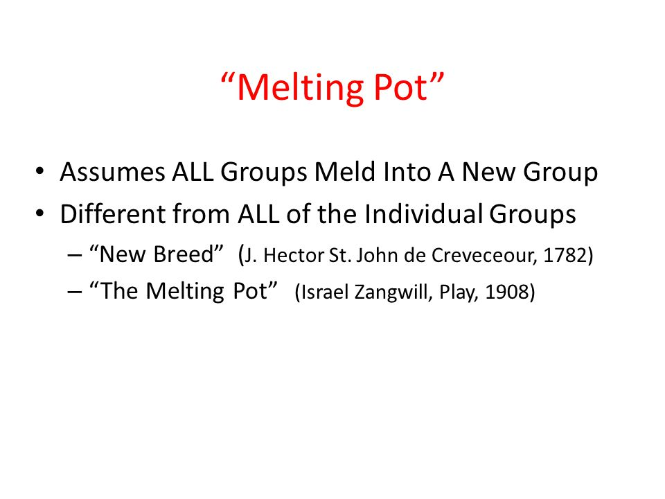 Melting Pot Assumes ALL Groups Meld Into A New Group