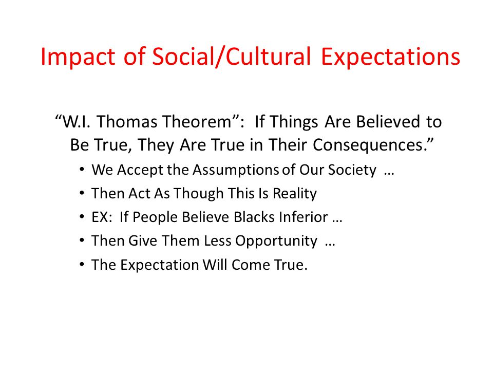 Impact of Social/Cultural Expectations