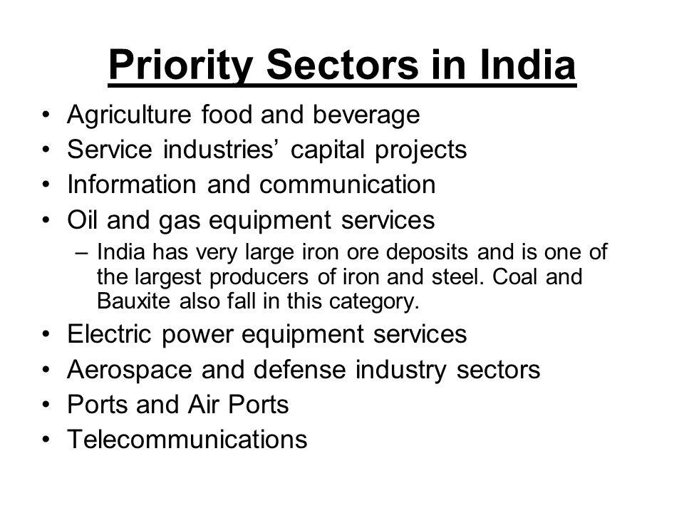 Priority Sectors in India