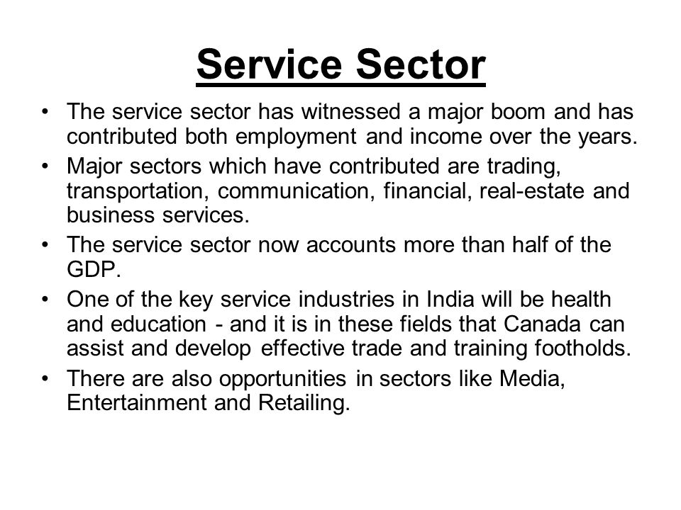 Service Sector The service sector has witnessed a major boom and has contributed both employment and income over the years.