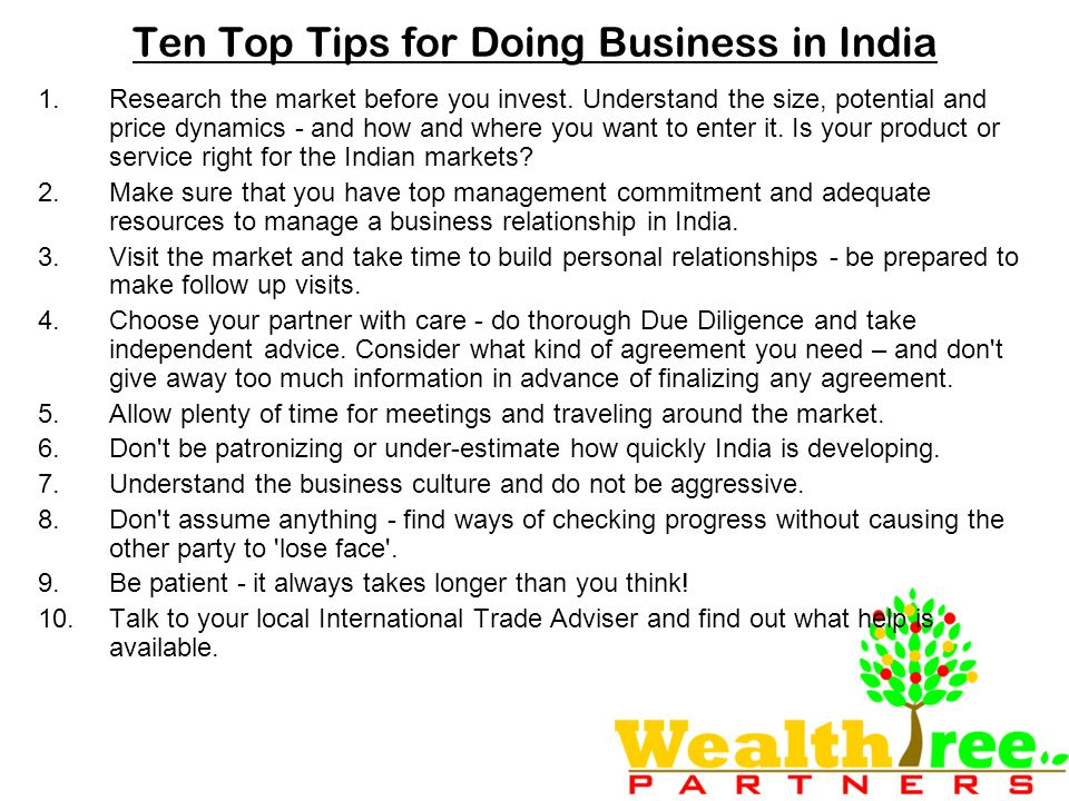 Ten Top Tips for Doing Business in India