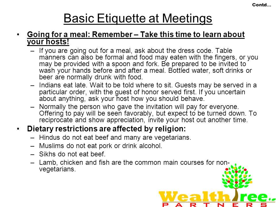 Basic Etiquette at Meetings