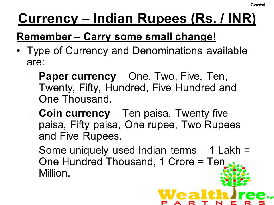 Currency – Indian Rupees (Rs. / INR)